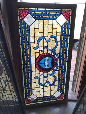 SG 1642 antique red jeweled transom window 31.5 x 62