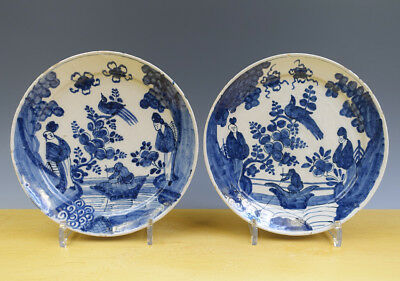 Antique Pair of Dutch Delft Plates Chinoiserie Kangxi-Style 18th C