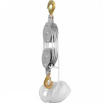 2 Ton Poly Rope Hoist Pulley Wheel Block and Tackle Puller Lift Tools
