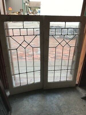 SG 1644 match Pair antique leaded glass bookcase doors 36 wide by 36 1/4 inch h…