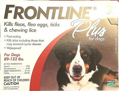 Frontline Plus for Extra Large Dogs 89-132 lbs 3 Doses(open or damaged box)