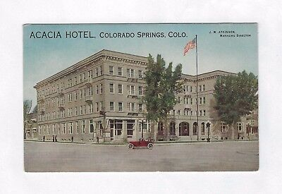 OLD VINTAGE PICTURE POSTCARD ACACIA HOTEL COLORADO SPRINGS w/ BUILDING CAR AUTO