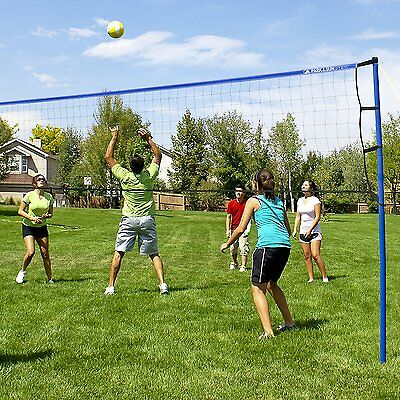 Portable Outdoor Volleyball Net System Blue Sports Beach Park Sun Backyard Play
