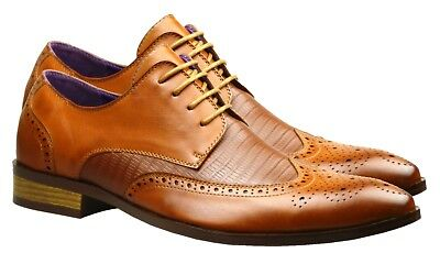 Mens Fashion New Brown Tan Leather Shoes Formal Wedding Smart Dress UK Size