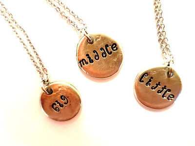 Big sister middle sister little sister pewter necklace set family
