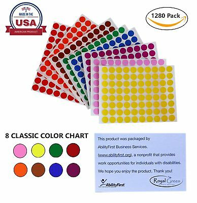 Colored Labels 1/2 Inch 13mm Round Dot Stickers Permanent Adhesive 1280 Pack