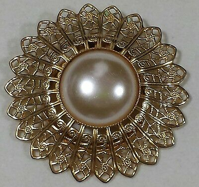 Vintage Jewelry Scarf Clip Brooch Pin Gold Tone Filigree Faux Pearl Flower Ch...