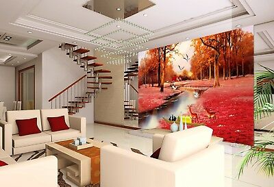 3D Deers Red Forest 75 Wall Paper Murals Wall Print Wall Wallpaper Mural AU Kyra