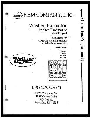 Unimac  Commercial  Washers  Programming  Manual  For  Models:  We-6