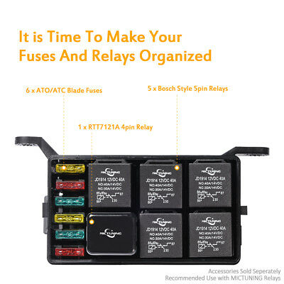Car auto Fuse Relay Holder 12-Slot Relay Box 6 Relays 6 ATC/ATO Fuses Universal
