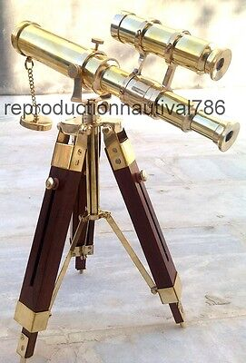 Royal Navy Scope Pirate Spyglass Double Barrel Solid Brass Telescope With Tripod