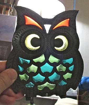 Pair of Vintage Owl Metal Napkin Letter Holder Stained Glass - Retro - 1970's