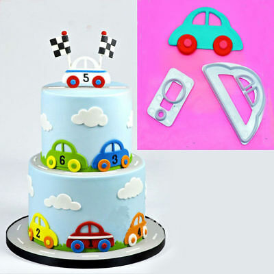 2Pcs Car Icing Cutter Fondant Mould Cake Decorating Cookies Mold Sugarcraft New