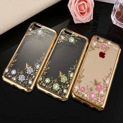 Luxury TPU Silicone Clear Crystal Diamond Soft Phone Case Cover For iPhoneX 8 KY