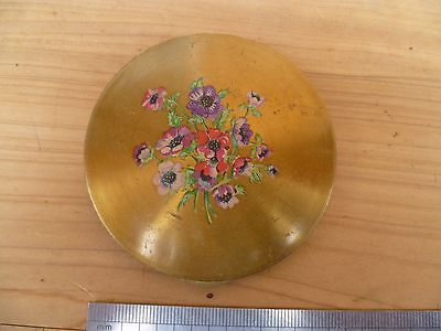 Vintage Old Brass 'flower Scene' Ladies Brass Decorated Compact Mirror (A901)
