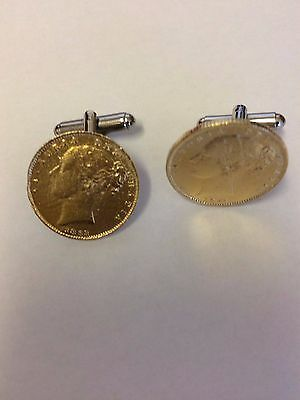 Victorian Soverign Coin WC33 Gold Pair of Cufflinks Made From English Pewter
