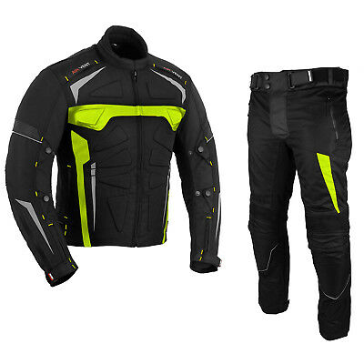 Motorbike Textile Suit 2 Piece Motorcycle Waterproof CE Armoured Jacket Trouser