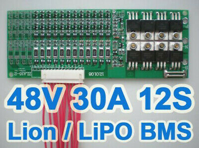 44.4V 48V 50.4V 30A 12S Li-ion LiPo Li-Polymer 18650 Battery BMS Protection PCB