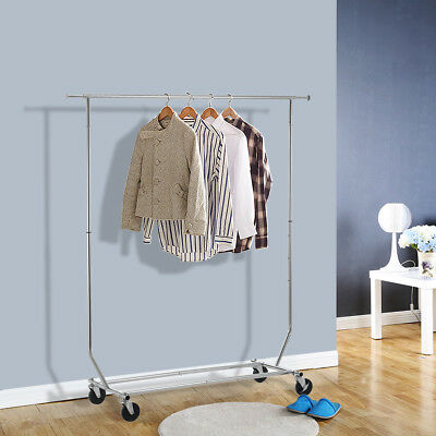 New Heavy Duty Commercial Grade Clothing Garment Rolling Collapsible Rack Chrome