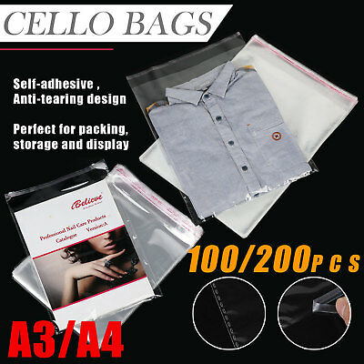 Clear Self Seal Adhesive Cello Cellophane Resealable Plastic Bags A4 A3 sizes