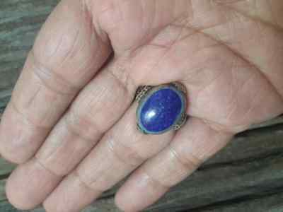 MEN Islamic RING Lapis STONE Nomadic ANTIQUE Afghan Intaglio carving vtg SZ 9 A