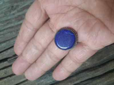 MEN Islamic RING Lapis STONE Nomadic ANTIQUE Afghan Intaglio carving vtg SZ 9 D