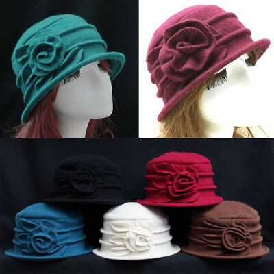 Fashion Women Wool Flower Bucket Hat Winter Warm Church Dress Cloche Beanie Cap