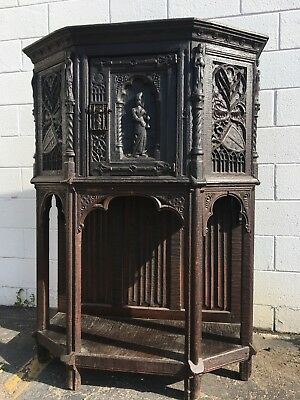 French Gothic Carved Wood Cabinet