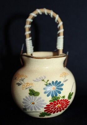 Lovely Vintage Miniature Pottery Basket With Cane Handle & Flower Motif