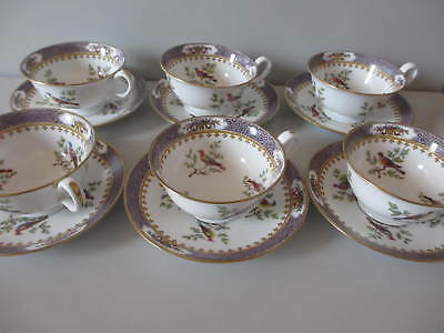 6 antike Teetassen Vögel Birds Davis Collamore Spode Copeland China England
