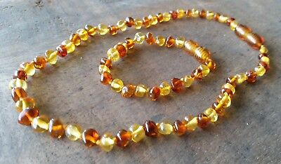Baltic Amber Child Necklace - COGNAC AND LEMON SET - Jewellery Beads FREE POST