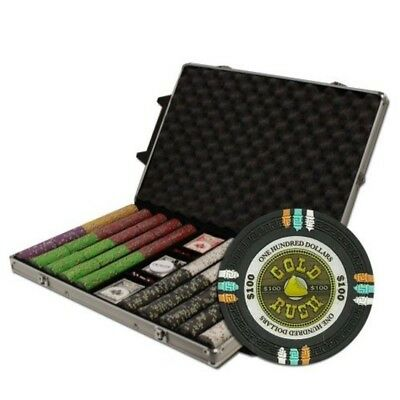 Claysmith Gaming 1000-Count Gold Rush Poker Chip Set in Rolling Aluminum Case, 1