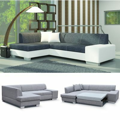 ecksofa fabian mit schlaffunktion und bettkasten wei grau eckcouch couch rp112 eur 349 00. Black Bedroom Furniture Sets. Home Design Ideas