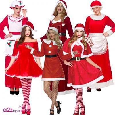 Miss Mrs Santa Claus Deluxe Adult Womens Ladies Christmas Fancy Dress Costume
