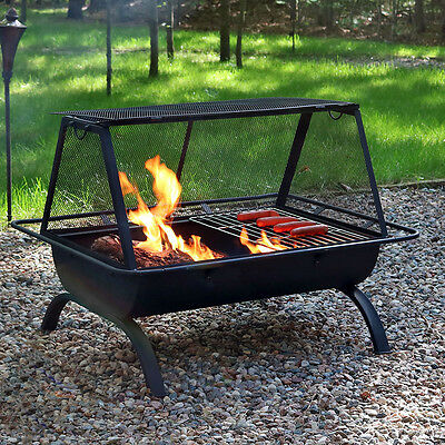 """Grill Fire Pit - Cooking Grill & Cover - BBQ yard steel hinged door - 35""""x26""""x26"""