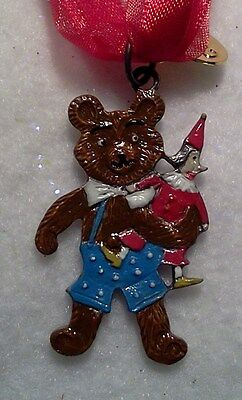 German Pewter Ornament Teddy Bear With Toy Gift Boxed-Made In Czech