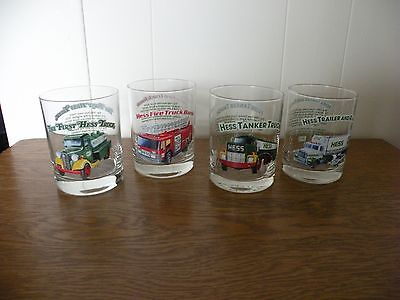 Set of 4 Hess Truck Glasses 1996 Classic Truck Series Never used