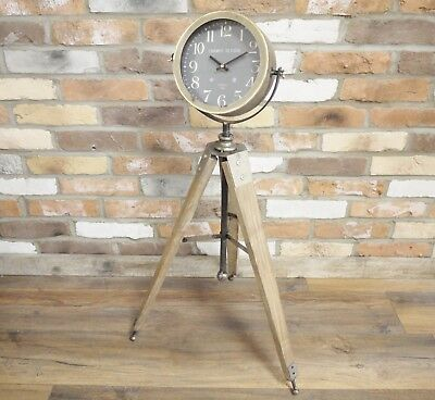 Vintage Industrial Retro Floor Standing Tripod Clock Natural Colour Home Office