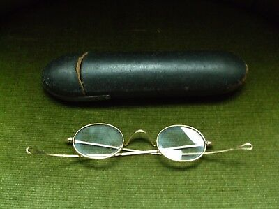 Fine Antique 19Th Century Pair Of Gold Spectacles In Their Original Leather Case