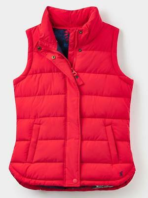 Joules Eastleigh Ladies Quilted Lightweight Padded Gilet - Red - Sizes UK 8-20