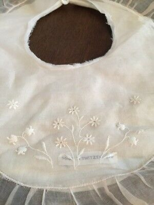 Vintage 1950s Cotton Embroidered Edelweiss Baby Doll Bib Made in Switzerland