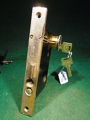 "VINTAGE RUSSWIN HARDWARE ENTRY MORTISE LOCK w/CYLINDER & KEY  7 3/4""  (9780-3)"