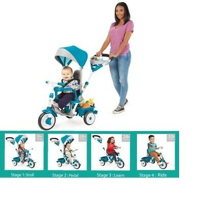Stroller Little Tike Perfect Fit 4-in-1 Trike Easy Push Fun Peddles Blue Toddler