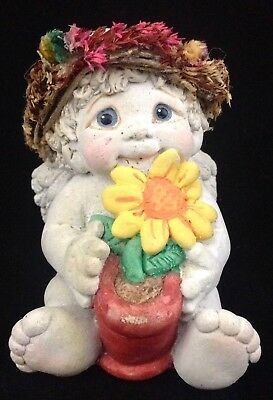 Vtg 1994 Dreamsicles Sunflower Cherub Holding Flower Pot Cast Art DC221 FR SHP