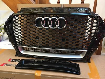 Audi A3 S3 RS3 styled Aftermarket Black Gloss Grille Black Frame 2013-15