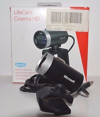 Microsoft LifeCam Cinema HD Webcam Black 720p HD Skype Video Chat - Used Once