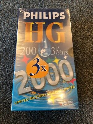 3x Philips HG 200 Blank VHS Blank Video Tapes 3 1/3 hour NEW/SEALED Ltd Edition