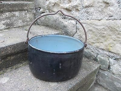 Vintage Cast Iron Enamel Oval Shaped Hanging Pan - Garden Feature?