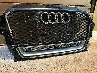Audi A3 S3 RS3 Styled Front Black Mesh Gloss Style Grille Chrome Frame 2013-15