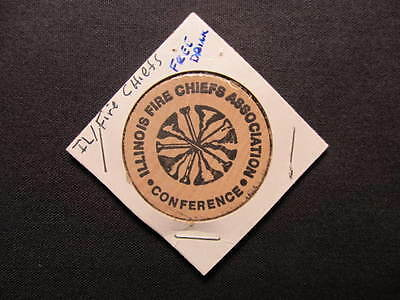 Illinois Fire Chiefs Association Conference Wooden Nickel Token-G/F 1 Drink Coin